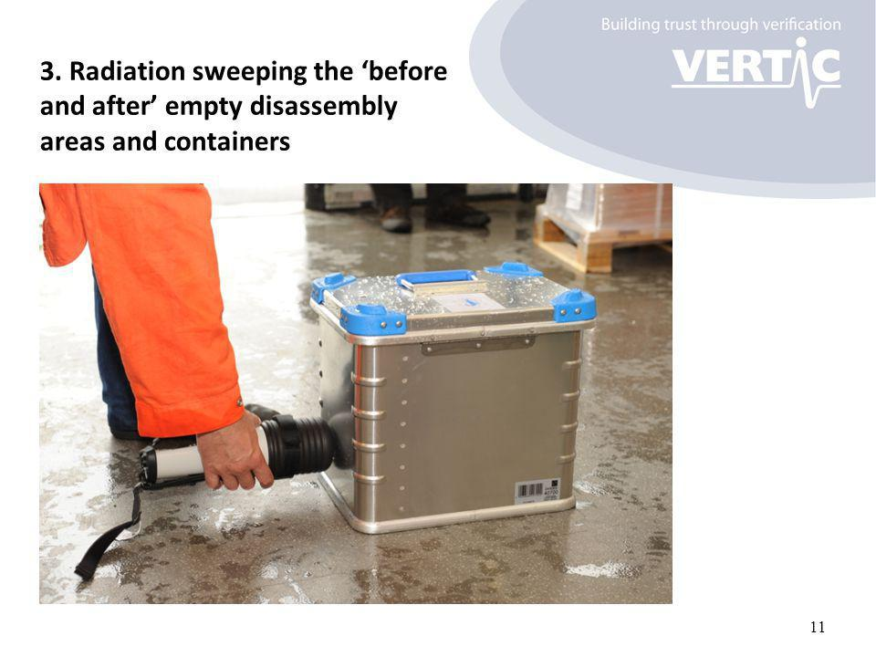 3. Radiation sweeping the 'before and after' empty disassembly areas and containers 11