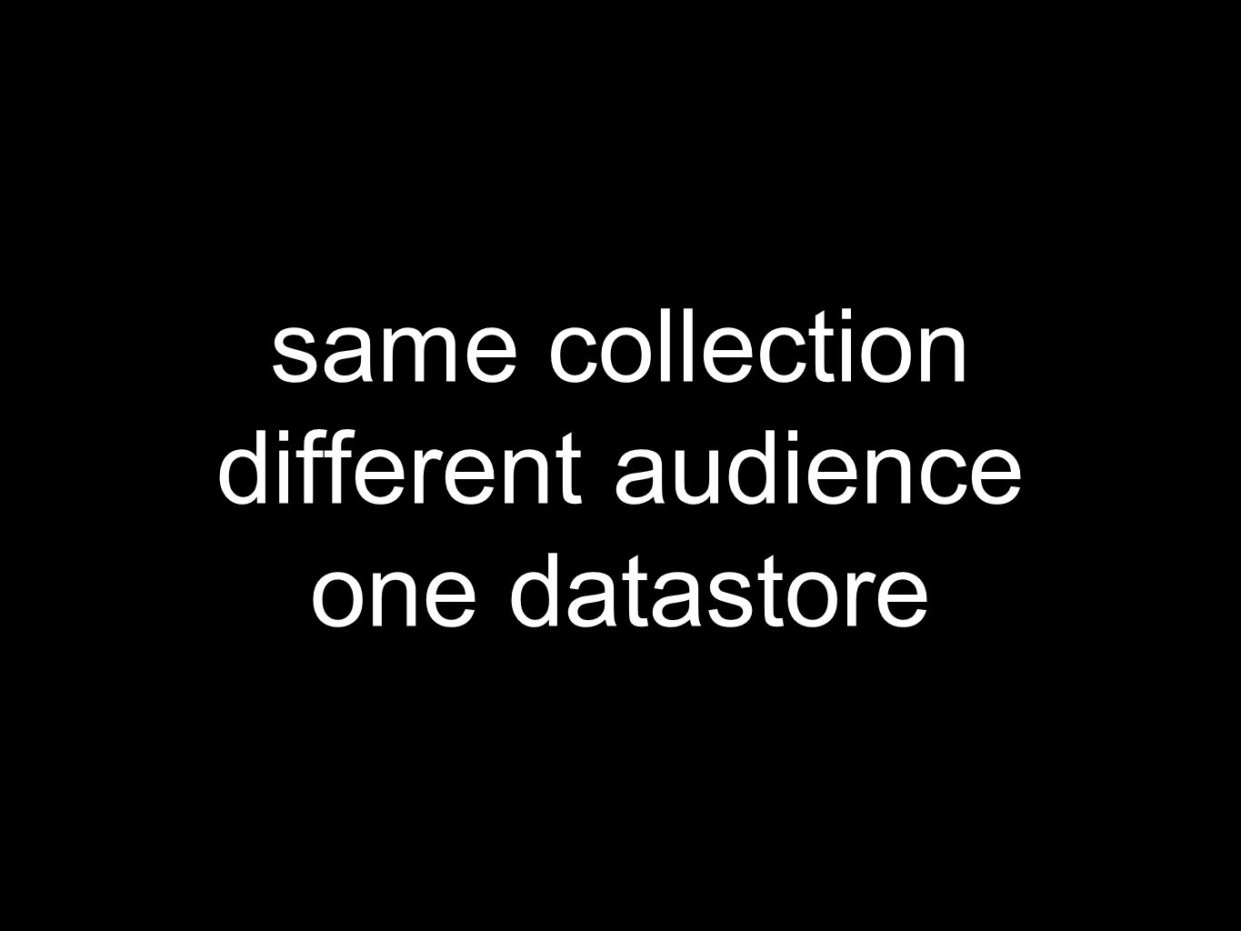 same collection different audience one datastore