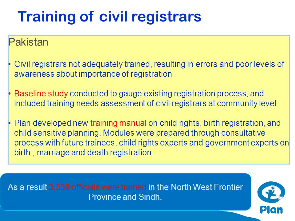Pakistan Civil registrars not adequately trained, resulting in errors and poor levels of awareness about importance of registration Baseline study con