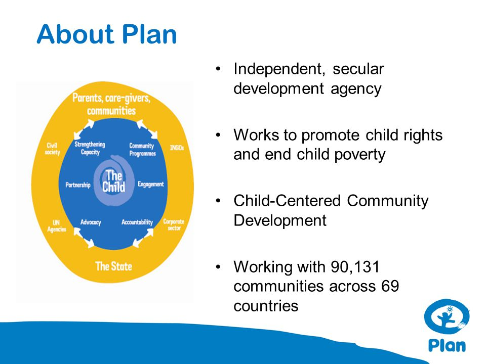About Plan Independent, secular development agency Works to promote child rights and end child poverty Child-Centered Community Development Working wi