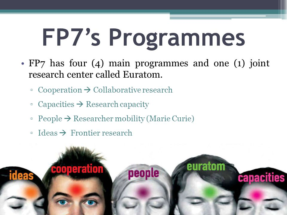FP7's Programmes FP7 has four (4) main programmes and one (1) joint research center called Euratom. ▫Cooperation  Collaborative research ▫Capacities