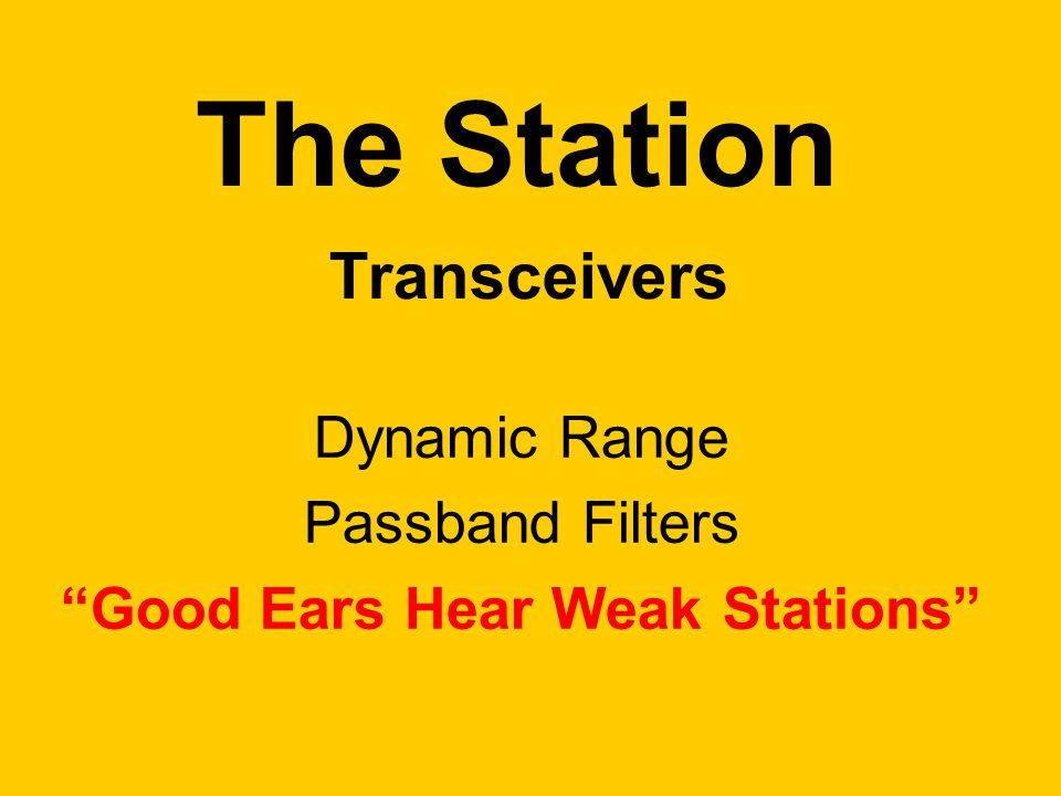The Station Transceivers Dynamic Range Passband Filters Good Ears Hear Weak Stations