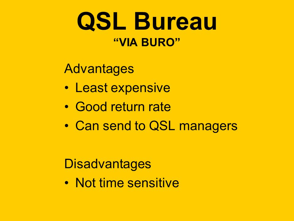 QSL Bureau VIA BURO Advantages Least expensive Good return rate Can send to QSL managers Disadvantages Not time sensitive