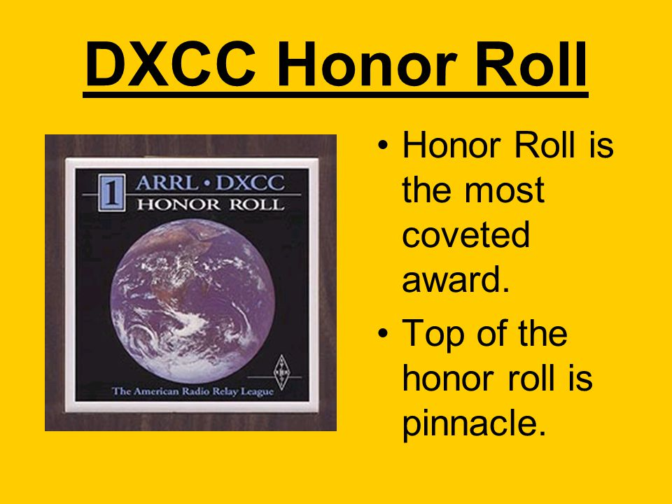 DXCC Honor Roll Honor Roll is the most coveted award. Top of the honor roll is pinnacle.