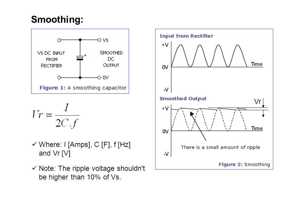 Smoothing: Note: The ripple voltage shouldn't be higher than 10% of Vs. Vr Where: I [Amps], C [F], f [Hz] and Vr [V]