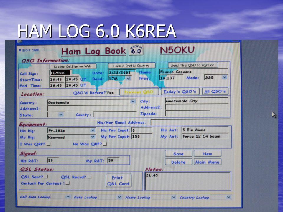 HAM LOG 6.0 K6REA