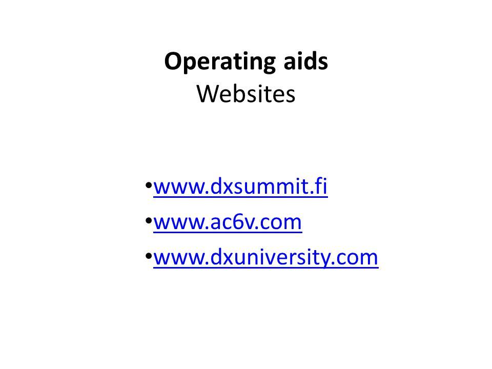 Operating aids Websites www.dxsummit.fi www.ac6v.com www.dxuniversity.com