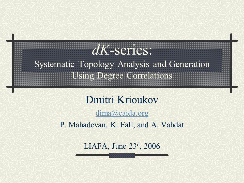 dK-explorations To identify the minimum d, s.t.