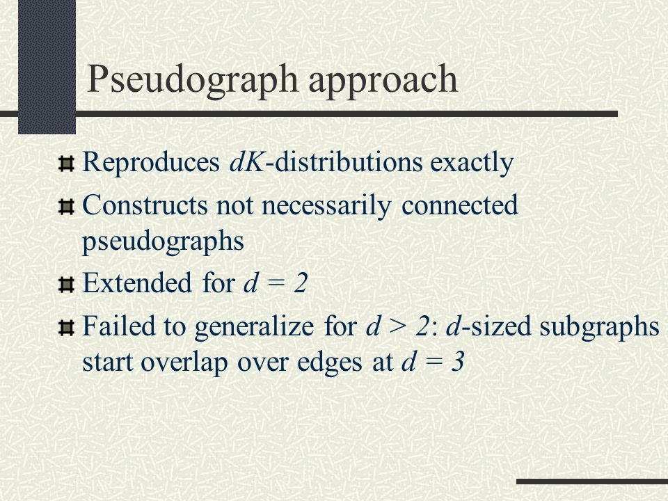 Pseudograph approach Reproduces dK-distributions exactly Constructs not necessarily connected pseudographs Extended for d = 2 Failed to generalize for d > 2: d-sized subgraphs start overlap over edges at d = 3