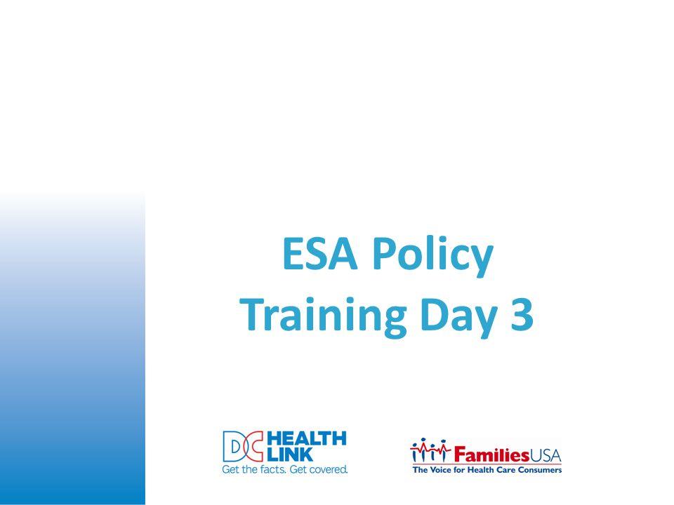 ESA Policy Training Day 3