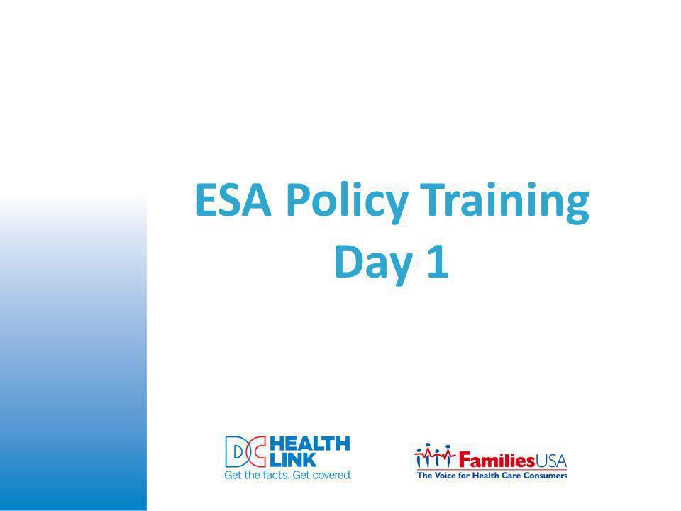 ESA Policy Training Day 1