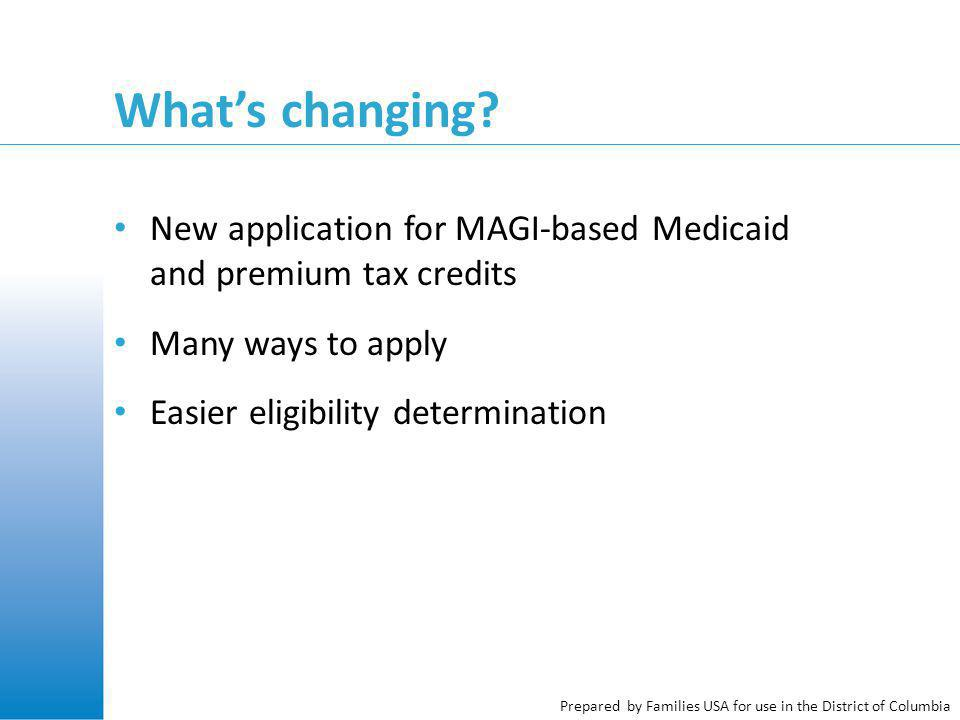 What's changing? New application for MAGI-based Medicaid and premium tax credits Many ways to apply Easier eligibility determination