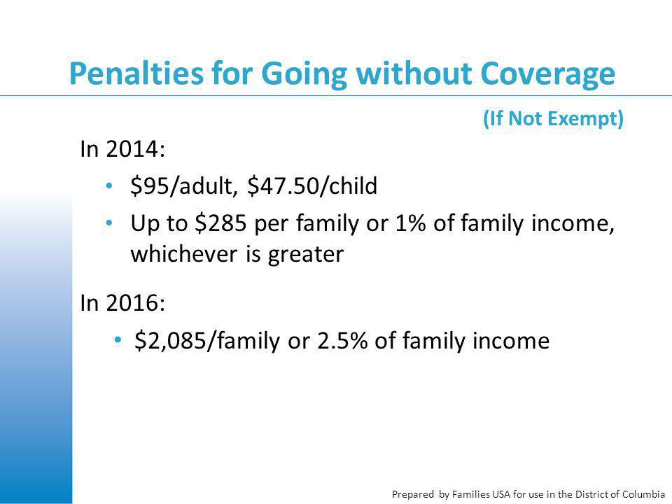 Prepared by Families USA for use in the District of Columbia In 2014: $95/adult, $47.50/child Up to $285 per family or 1% of family income, whichever is greater In 2016: $2,085/family or 2.5% of family income Penalties for Going without Coverage (If Not Exempt)
