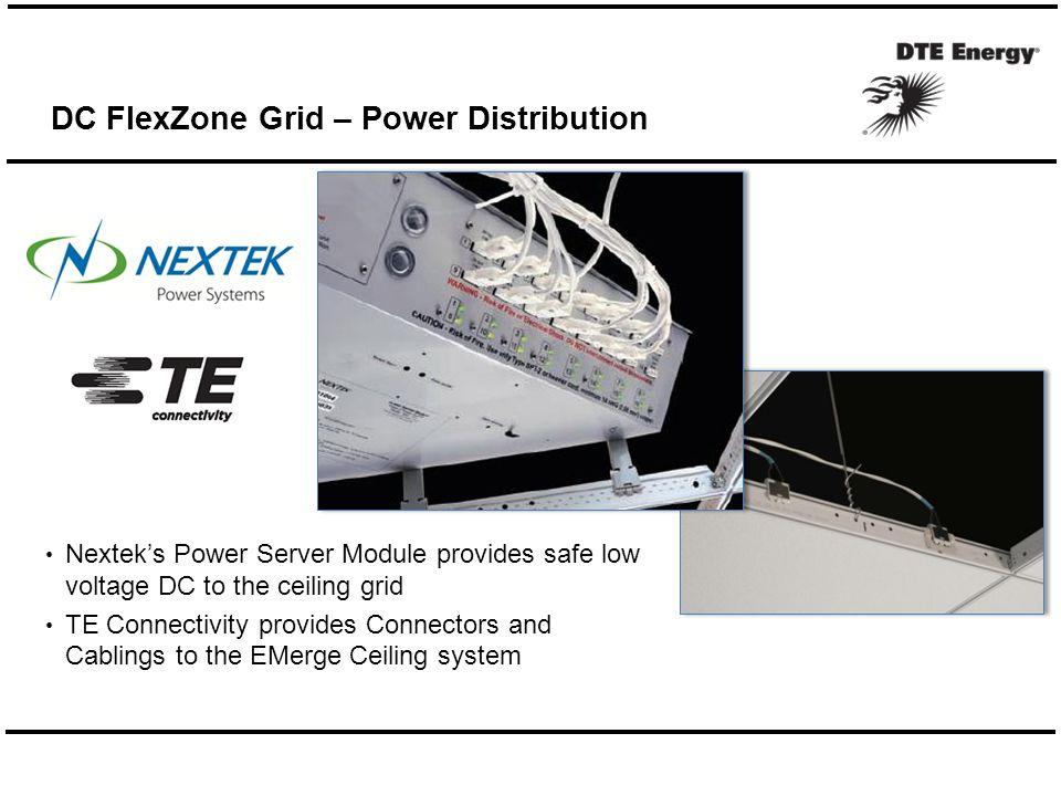 Nextek's Power Server Module provides safe low voltage DC to the ceiling grid TE Connectivity provides Connectors and Cablings to the EMerge Ceiling system DC FlexZone Grid – Power Distribution