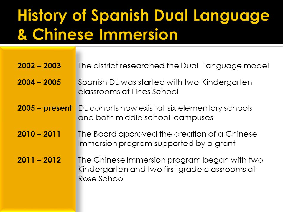  2002 – 2003 The district researched the Dual Language model  2004 – 2005 Spanish DL was started with two Kindergarten classrooms at Lines School  2005 – present DL cohorts now exist at six elementary schools and both middle school campuses  2010 – 2011 The Board approved the creation of a Chinese Immersion program supported by a grant  2011 – 2012 The Chinese Immersion program began with two Kindergarten and two first grade classrooms at Rose School