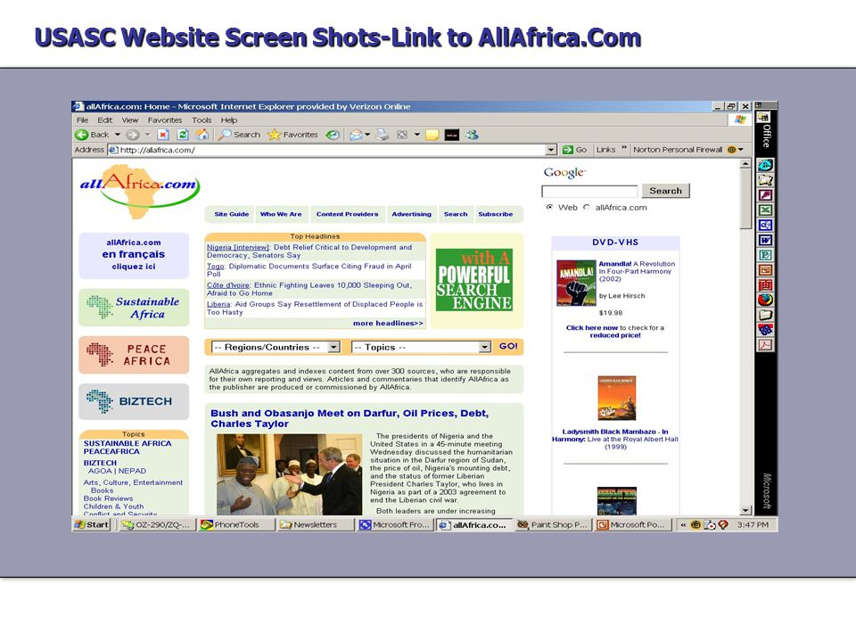 USASC Website Screen Shots-Link to Africa Pictures USASC Website Screen Shots-Link to Africa Pictures