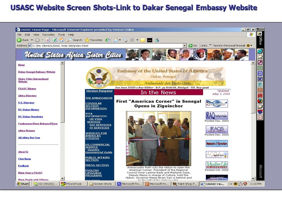 USASC Website Screen Shots-Home Page