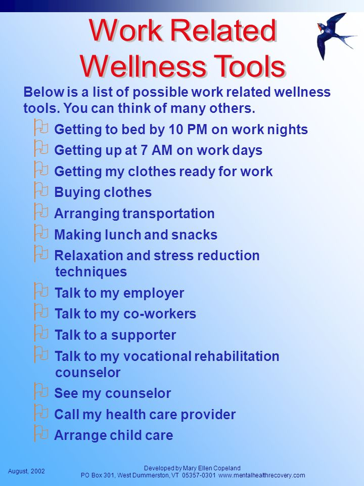 August, 2002 Developed by Mary Ellen Copeland PO Box 301, West Dummerston, VT 05357-0301 www.mentalhealthrecovery.com Below is a list of possible work related wellness tools.