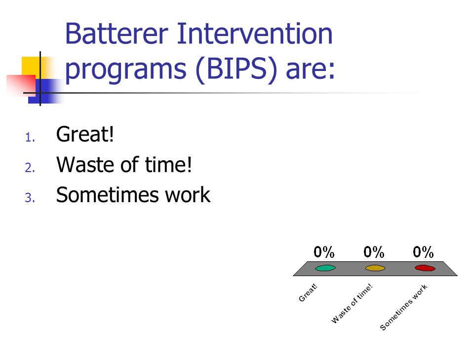 Batterer Intervention programs (BIPS) are: 1. Great! 2. Waste of time! 3. Sometimes work