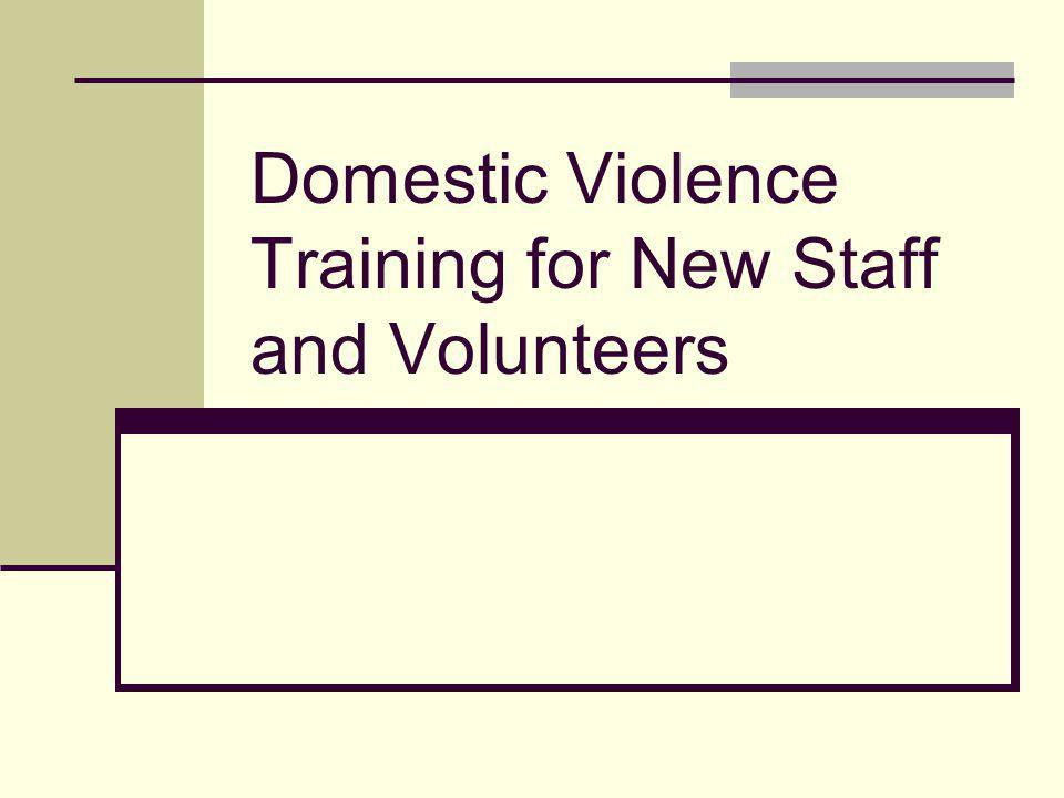 Domestic Violence Training for New Staff and Volunteers