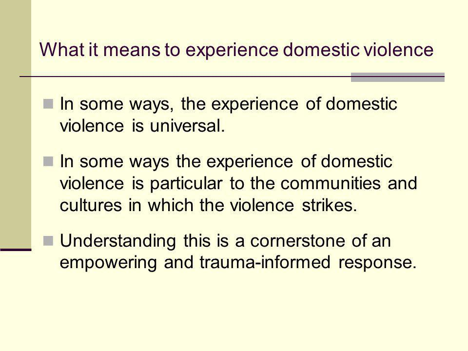 What it means to experience domestic violence In some ways, the experience of domestic violence is universal. In some ways the experience of domestic