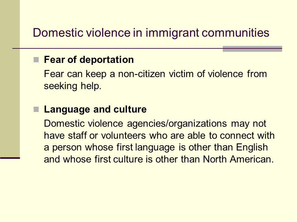 Fear of deportation Fear can keep a non-citizen victim of violence from seeking help. Language and culture Domestic violence agencies/organizations ma