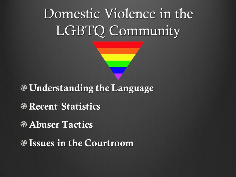 Domestic Violence in the LGBTQ Community Understanding the Language Recent Statistics Abuser Tactics Issues in the Courtroom