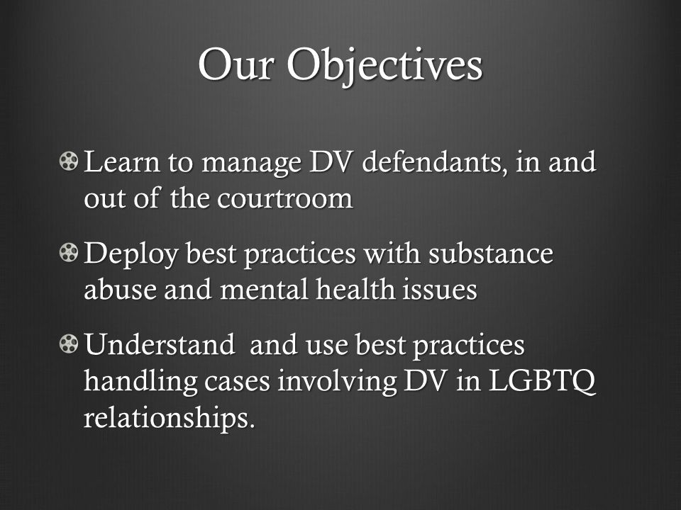 Our Objectives Learn to manage DV defendants, in and out of the courtroom Deploy best practices with substance abuse and mental health issues Understand and use best practices handling cases involving DV in LGBTQ relationships.