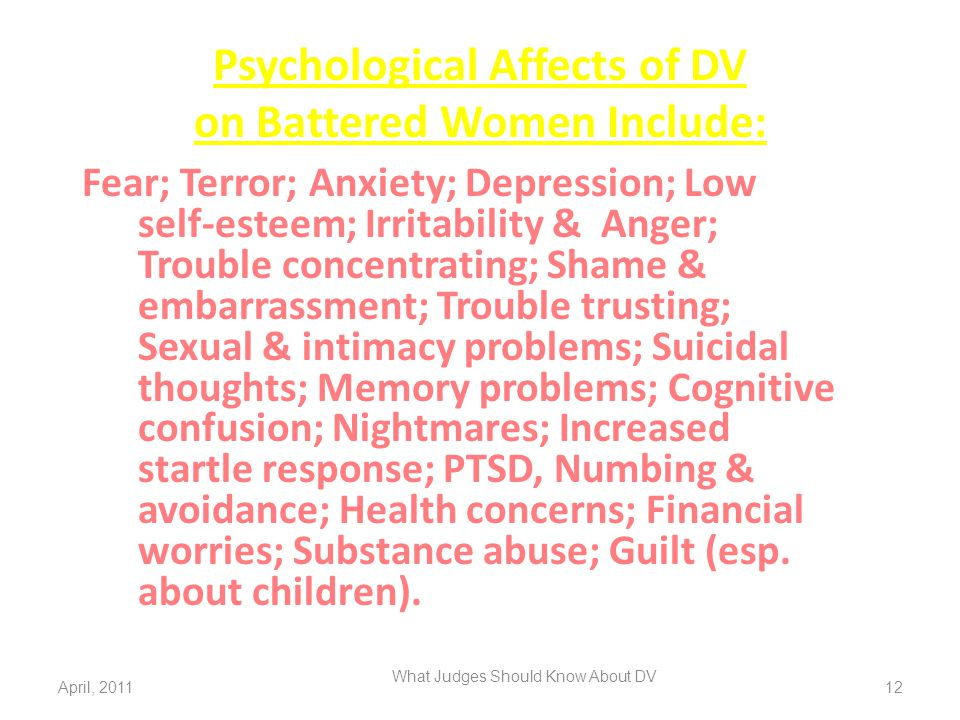 Psychological Affects of DV on Battered Women Include: Fear; Terror; Anxiety; Depression; Low self-esteem; Irritability & Anger; Trouble concentrating