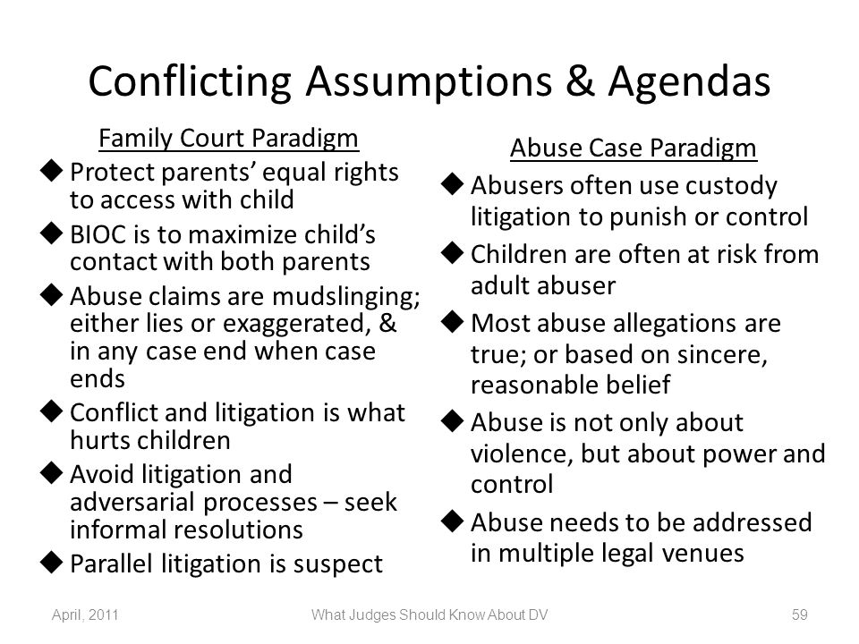 Conflicting Assumptions & Agendas Family Court Paradigm  Protect parents' equal rights to access with child  BIOC is to maximize child's contact wit