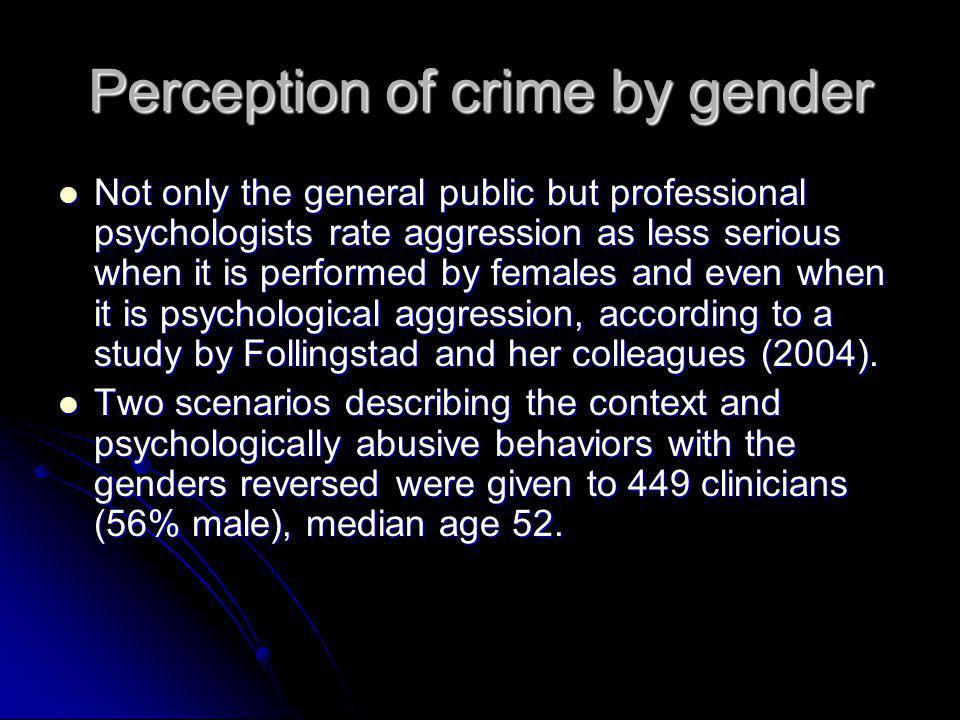 Perception of crime by gender Not only the general public but professional psychologists rate aggression as less serious when it is performed by femal