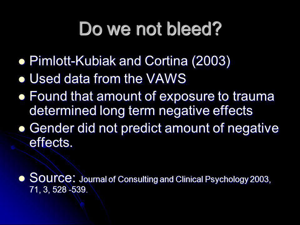 Do we not bleed? Pimlott-Kubiak and Cortina (2003) Pimlott-Kubiak and Cortina (2003) Used data from the VAWS Used data from the VAWS Found that amount