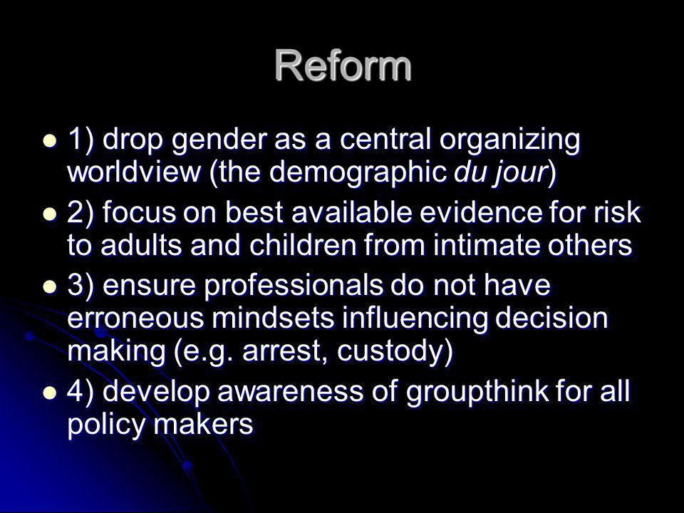 Reform 1) drop gender as a central organizing worldview (the demographic du jour) 1) drop gender as a central organizing worldview (the demographic du