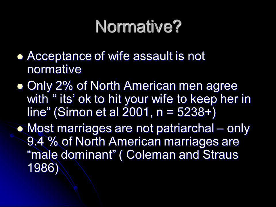 """Normative? Acceptance of wife assault is not normative Acceptance of wife assault is not normative Only 2% of North American men agree with """" its' ok"""