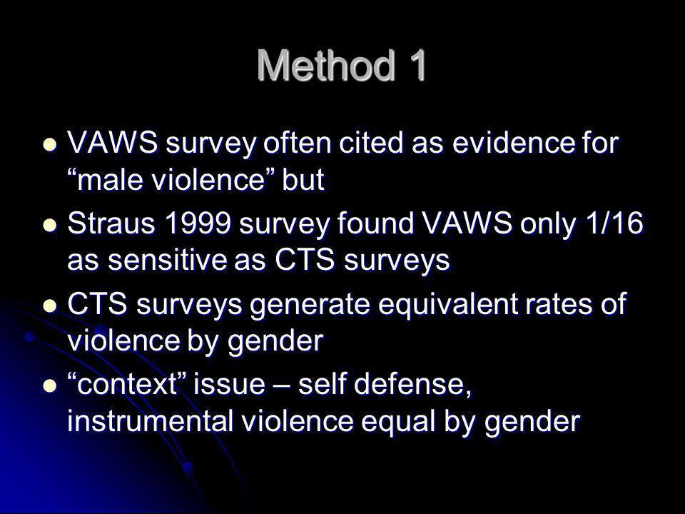 """Method 1 VAWS survey often cited as evidence for """"male violence"""" but VAWS survey often cited as evidence for """"male violence"""" but Straus 1999 survey fo"""
