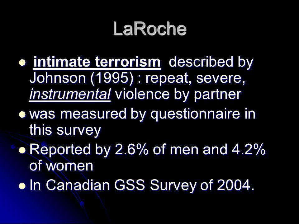 LaRoche intimate terrorism described by Johnson (1995) : repeat, severe, instrumental violence by partner intimate terrorism described by Johnson (199