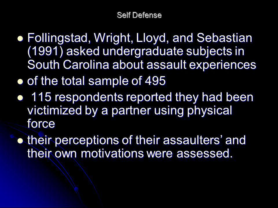 Self Defense Follingstad, Wright, Lloyd, and Sebastian (1991) asked undergraduate subjects in South Carolina about assault experiences Follingstad, Wr