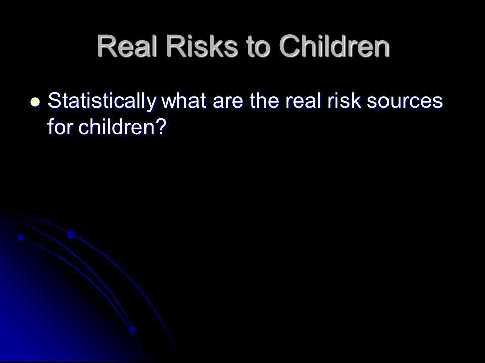 Real Risks to Children Statistically what are the real risk sources for children? Statistically what are the real risk sources for children?