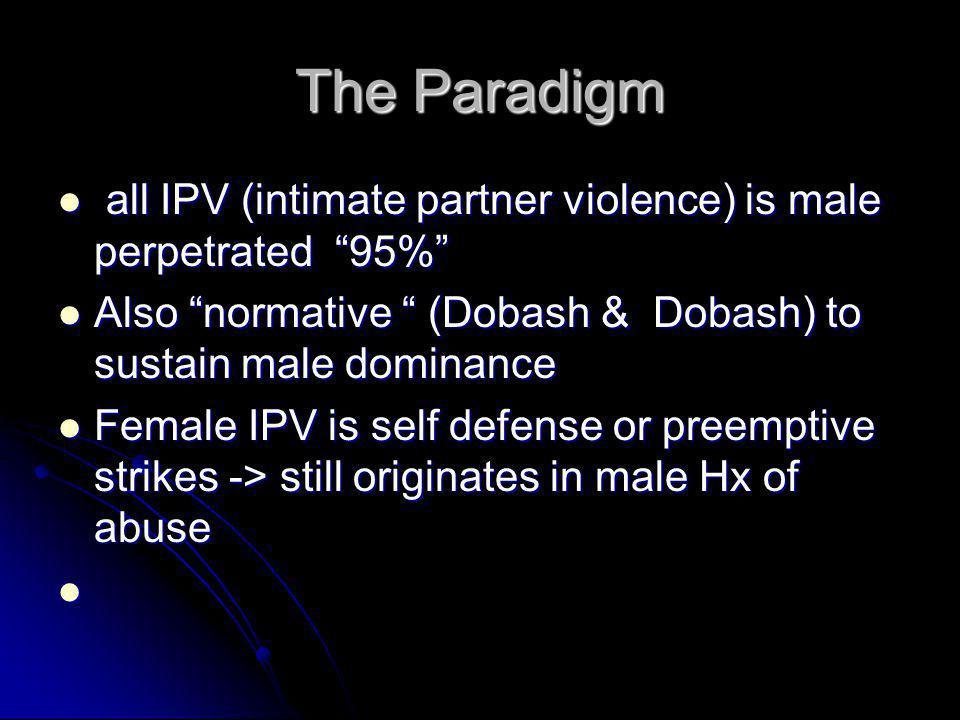 "The Paradigm all IPV (intimate partner violence) is male perpetrated ""95%"" all IPV (intimate partner violence) is male perpetrated ""95%"" Also ""normati"