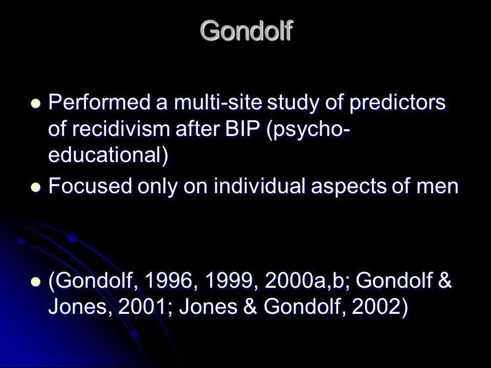Gondolf Performed a multi-site study of predictors of recidivism after BIP (psycho- educational) Performed a multi-site study of predictors of recidiv