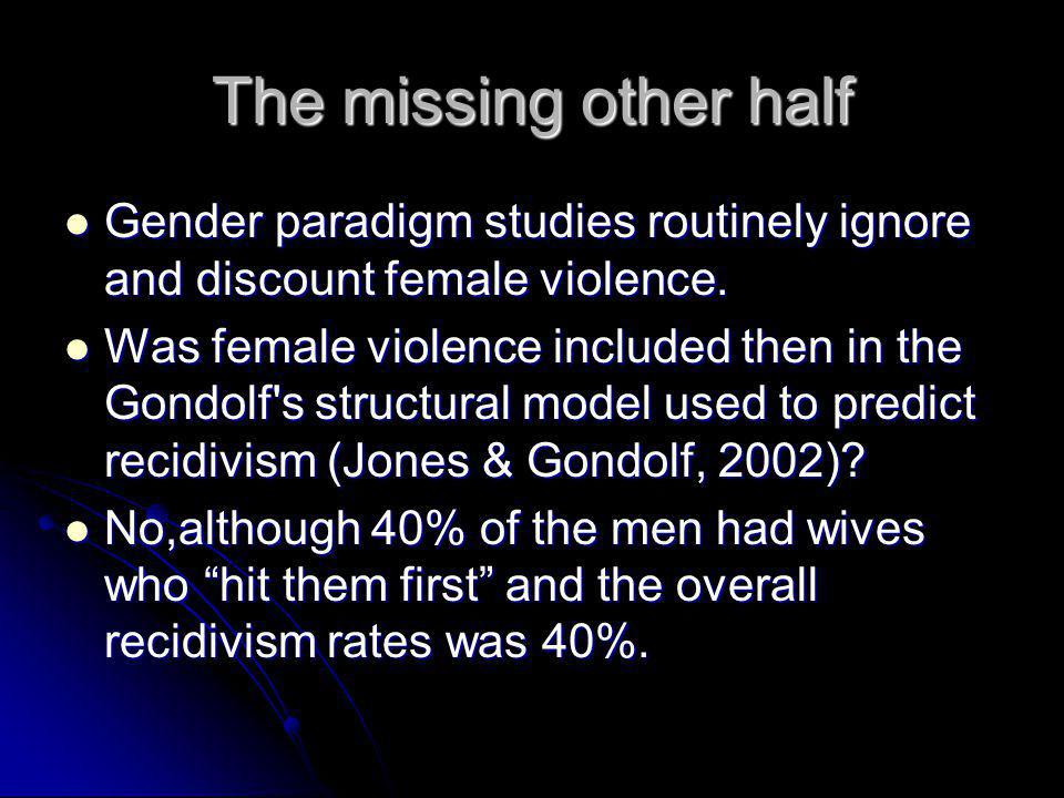 The missing other half Gender paradigm studies routinely ignore and discount female violence. Gender paradigm studies routinely ignore and discount fe