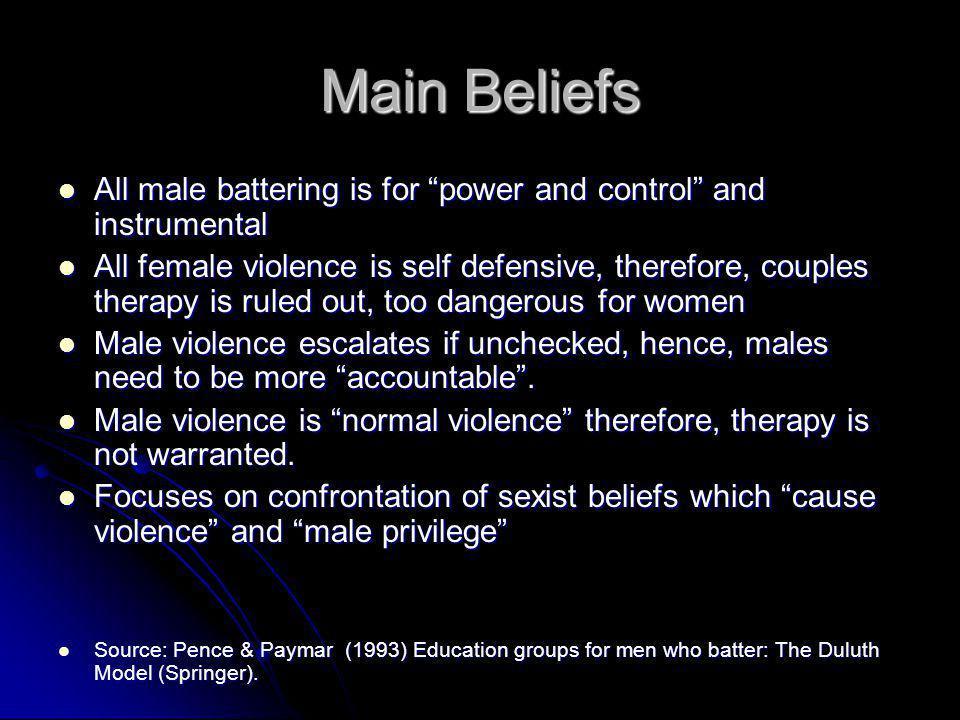 "Main Beliefs All male battering is for ""power and control"" and instrumental All male battering is for ""power and control"" and instrumental All female"