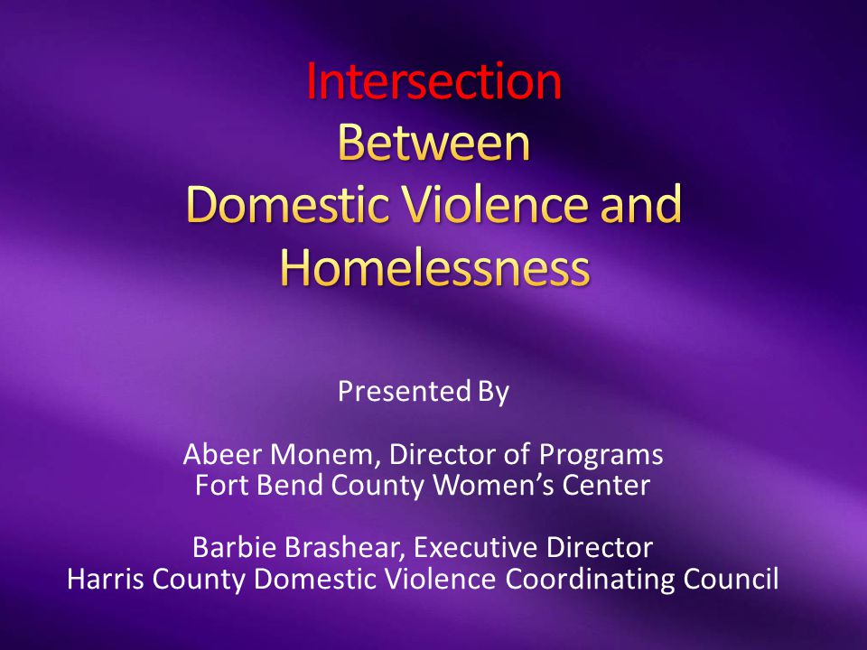 Presented By Abeer Monem, Director of Programs Fort Bend County Women's Center Barbie Brashear, Executive Director Harris County Domestic Violence Coordinating Council