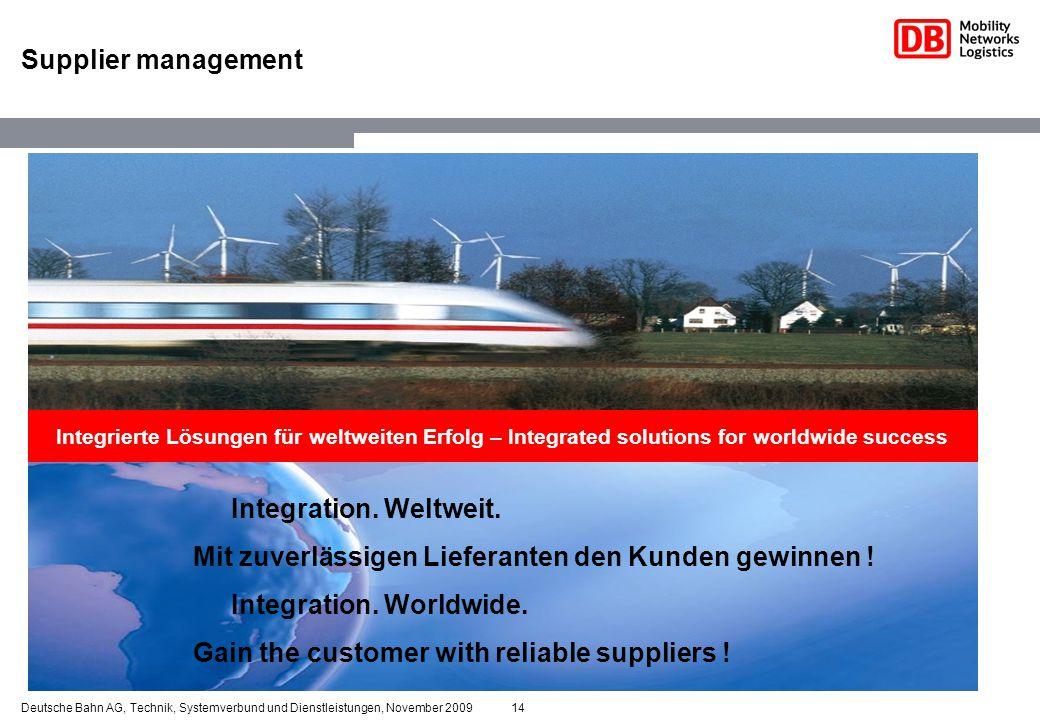 14Deutsche Bahn AG, Technik, Systemverbund und Dienstleistungen, November 2009 Supplier management Integration. Weltweit. Mit zuverlässigen Lieferante