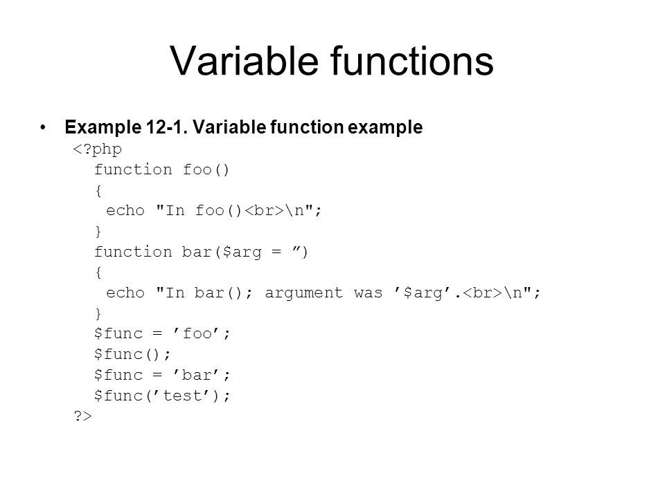 Variable functions Example 12-1.