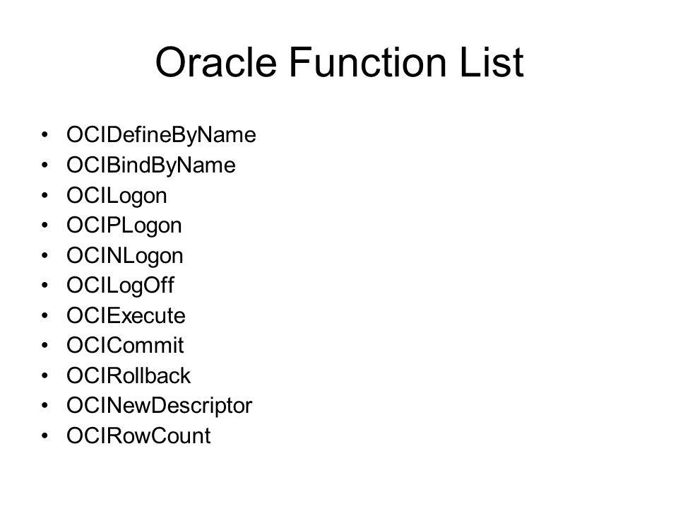 Oracle Function List OCIDefineByName OCIBindByName OCILogon OCIPLogon OCINLogon OCILogOff OCIExecute OCICommit OCIRollback OCINewDescriptor OCIRowCoun