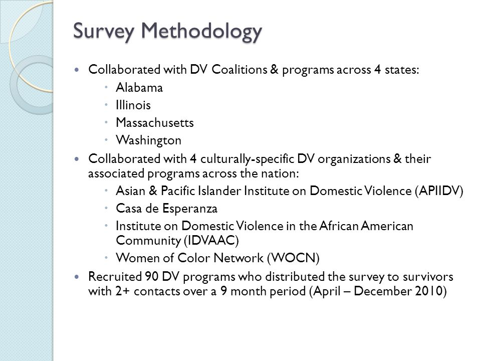 Survey Methodology Collaborated with DV Coalitions & programs across 4 states:  Alabama  Illinois  Massachusetts  Washington Collaborated with 4 culturally-specific DV organizations & their associated programs across the nation:  Asian & Pacific Islander Institute on Domestic Violence (APIIDV)  Casa de Esperanza  Institute on Domestic Violence in the African American Community (IDVAAC)  Women of Color Network (WOCN) Recruited 90 DV programs who distributed the survey to survivors with 2+ contacts over a 9 month period (April – December 2010)