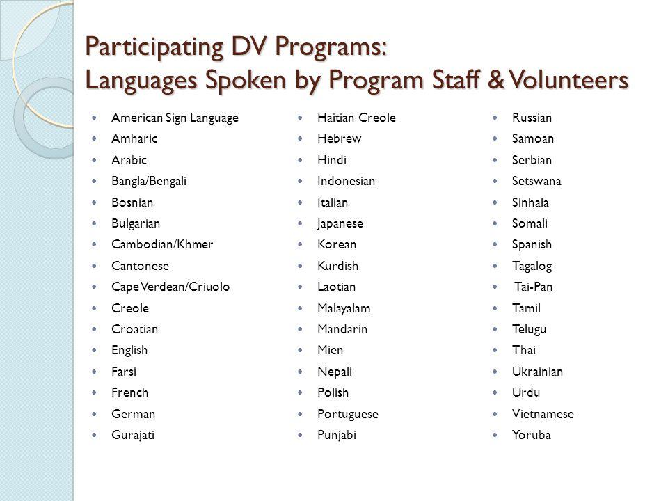 Participating DV Programs: Languages Spoken by Program Staff & Volunteers American Sign Language Amharic Arabic Bangla/Bengali Bosnian Bulgarian Cambo