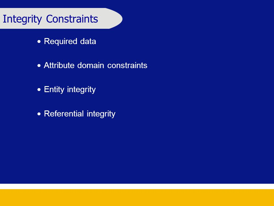 Integrity Constraints  Required data  Attribute domain constraints  Entity integrity  Referential integrity