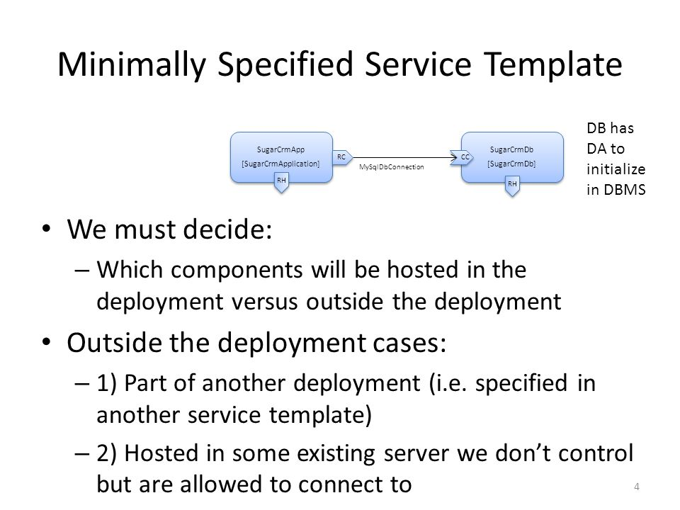 Minimally Specified Service Template SugarCrmApp [SugarCrmApplication] SugarCrmApp [SugarCrmApplication] SugarCrmDb [SugarCrmDb] SugarCrmDb [SugarCrmDb] MySqlDbConnection RH RC CC 4 We must decide: – Which components will be hosted in the deployment versus outside the deployment Outside the deployment cases: – 1) Part of another deployment (i.e.